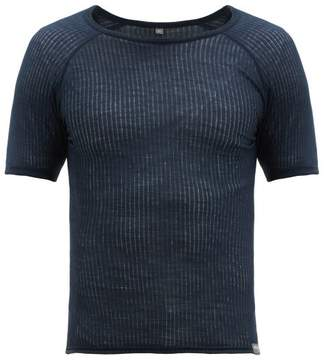 Ribbed Wool Blend Base Layer T Shirt - Mens - Blue