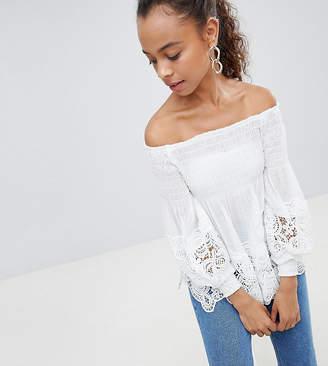 Parisian Petite Off Shoulder Shirred Detail Top With Crochet Hem