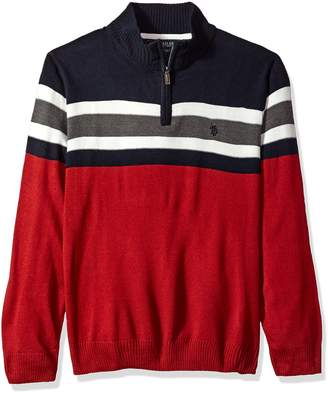 U.S. Polo Assn. Men's Acrylic Chest Stripe 1/4 Zip Sweater