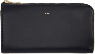 A.P.C. Navy Long Continental Wallet $290 thestylecure.com