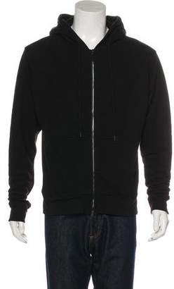 En Noir Leather-Trimmed Zip Hoodie