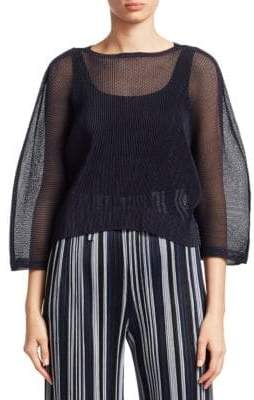 Pleats Please Issey Miyake Tatami May Three-Quarter Sleeve Top