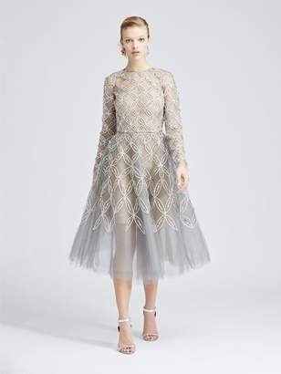 4d894738a5b Oscar de la Renta Trellis Embroidered Tulle Cocktail Dress