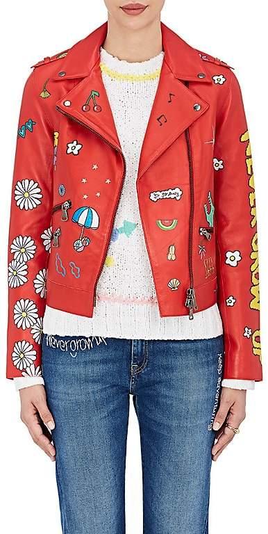 "Mira Mikati Women's ""Never Grow Up"" Leather Moto Jacket"