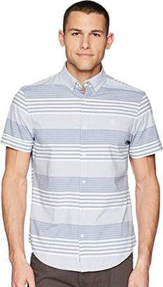 Original Penguin Men's Short Sleeve Stripe on Stretch Poplin