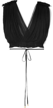 Elena Makri - Antigone Cropped Crinkled Silk-tulle Top - Black