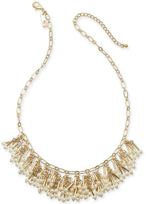 "INC International Concepts I.n.c. Gold-Tone Imitation Pearl Shaky Statement Necklace, 18"" + 3"" extender"