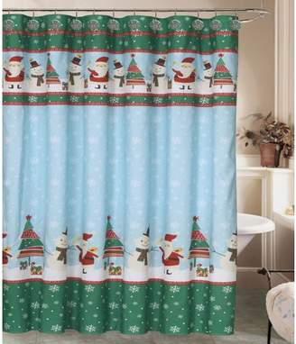 HowPlumb Holiday Santa Snowman Shower Curtain with 12 Resin Shower Hook Rings Bathroom Set Snowflake Winter