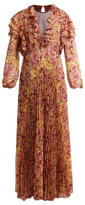 Giambattista Valli Pleated Floral Print Silk Dress - Womens - Burgundy Print