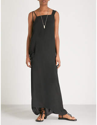 Isabel Benenato Slit-shoulder silk maxi dress