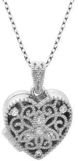 Lord & Taylor Crystal and Sterling Silver Heart Locket Pendant Necklace