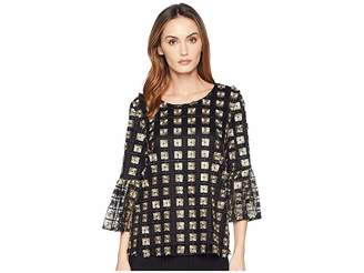 Calvin Klein Embroidered Net Bell Sleeve Blouse