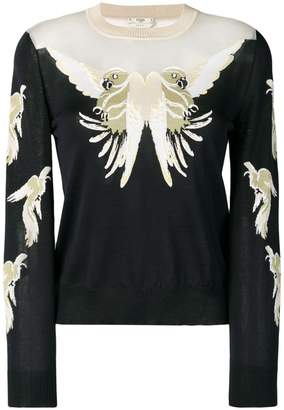 Fendi parakeet embroidered sweater