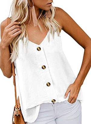 Actloe Women V Neck Button Down Spaghetti Strap Tank Top Summer Casual Sleeveless Shirts Blouses X-Large