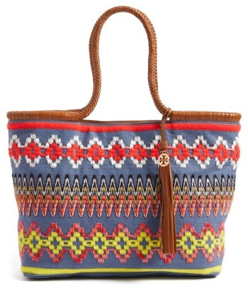 Tory BurchTory Burch Embroidered Tote - Blue