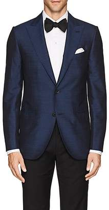 Caruso MEN'S SLUB SILK TWO-BUTTON SPORTCOAT - NAVY SIZE 44 R