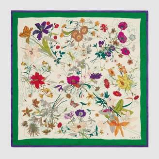 Gucci Silk scarf with Flora Gothic print