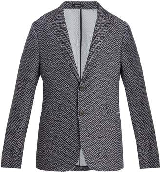 Giorgio Armani Single-breasted chevron-jacquard blazer