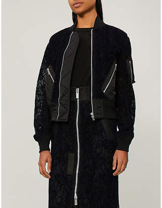 Sacai Floral lace velvet bomber jacket