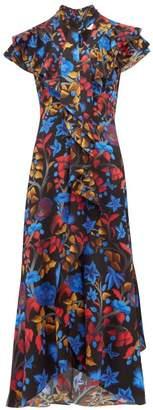 Peter Pilotto Ruffled Cap Sleeve Silk Midi Dress - Womens - Navy Multi
