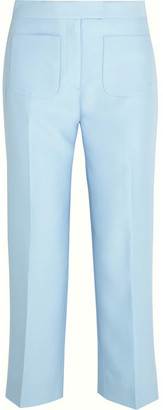 J.Crew - Gretch Cropped Wool And Silk-blend Twill Straight-leg Pants - Sky blue $270 thestylecure.com
