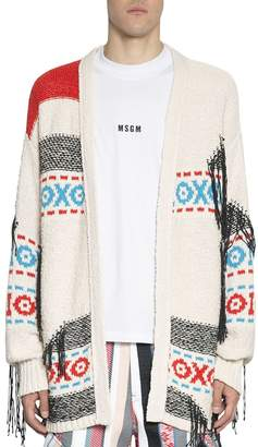 MSGM Oversized Cotton Cardigan Sweater