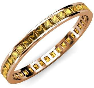 TriJewels Citrine Princess Cut Channel Set Eternity Band 1.62 ct tw to 1.91 ct tw in 14K Yellow Gold.size 7.0