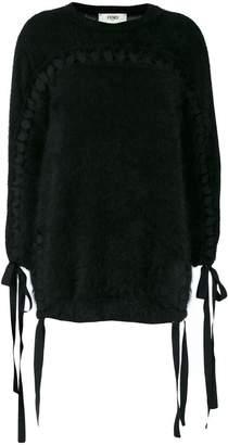 Fendi tie detail fuzzy-knit sweater