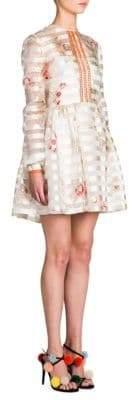 Fendi Bambolina Striped Floral Fit-&-Flare Dress
