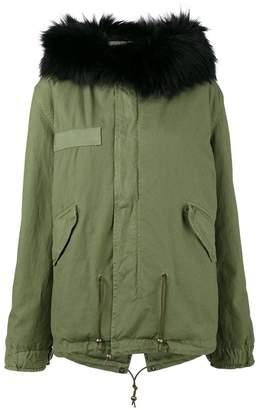 Mr & Mrs Italy Short Black Fur Trim Hood Parka