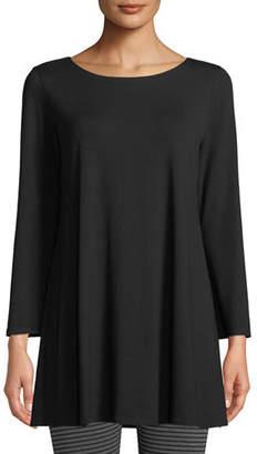 Eileen Fisher Wide-Sleeve Ballet-Neck Viscose Jersey Tunic, Petite
