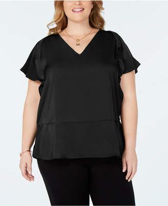 Michael Kors Plus Size Flutter-Sleeve Top