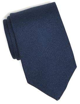 Drakes Drake's Wool/Silk Solid Tie in Navy