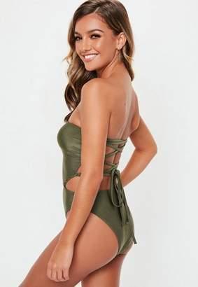 Missguided Khaki Bandeau Cut Out Swimsuit