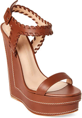 Giuseppe Zanotti Whipstitch Leather Platform Wedge Sandals
