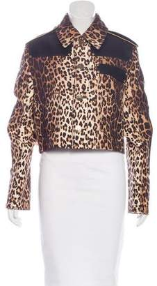Givenchy Leather-Accented Leopard Print Jacket