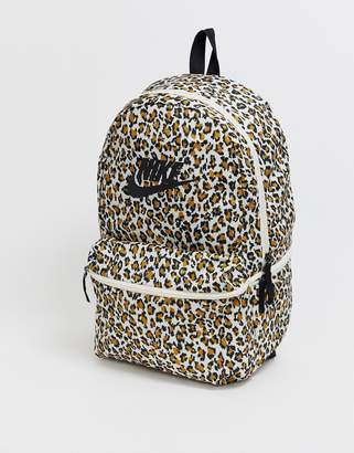 Nike heritage backpack in leopard print