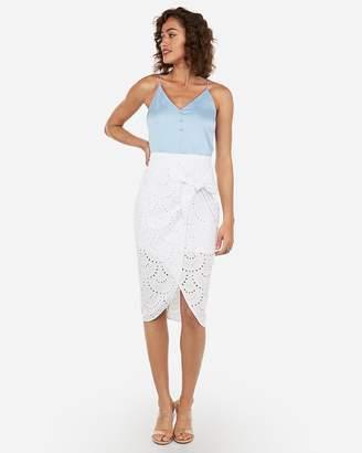 Express High Waisted Eyelet Wrap Tie Midi Skirt
