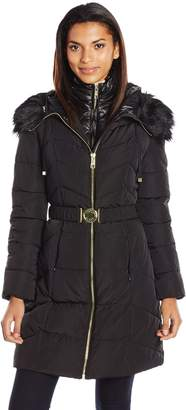 GUESS Women's Polyfill Belted Puffer with Vestee and Faux Fur Hood