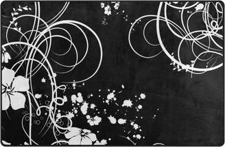 "3.1 Phillip Lim My Daily Flower Black White Swirls Area Rug 20"" x , Door Mat for Living Room Bedroom Kitchen Bathroom Decorative Lightweight Foam Printed Rug"