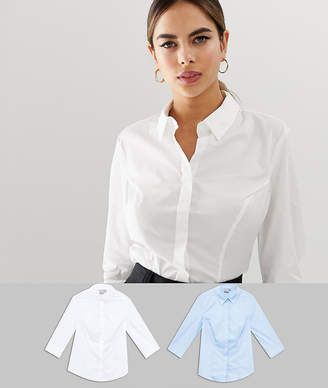 Asos DESIGN Petite fuller bust 3/4 sleeve shirt in stretch cotton 2 pack