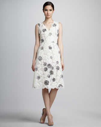 Valentino Wishflower Dandelion Lace Dress, White/Gray