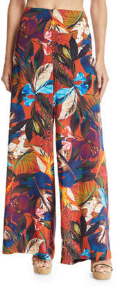 Jets Imaginable Floral-Print Wide-Leg Coverup Pants