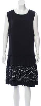 Ermanno Scervino Pleated Knee-Length Dress Black Pleated Knee-Length Dress