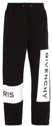 Givenchy Logo Embroidered Cotton Track Pants - Mens - Black
