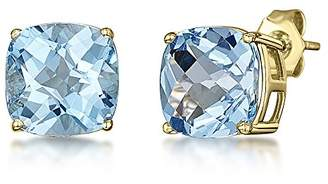 Theia 9ct Yellow Gold Chequerboard Cut Cushion Blue Topaz Stud Earrings