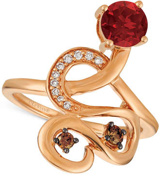 LeVian Le Vian Chocolatier Raspberry Rhodolite (9/10 ct. t.w.) and Diamond (1/6 ct. t.w.) Ring in 14k Rose Gold