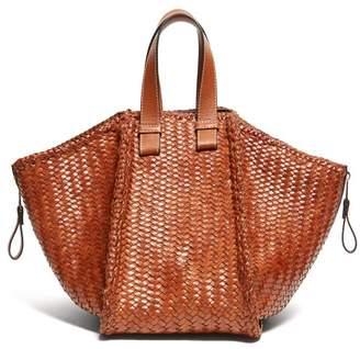 Loewe Hammock Small Woven Leather Tote Bag - Womens - Tan