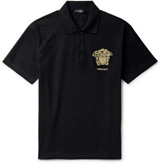 Versace Logo-Embroidered Cotton-Pique Polo Shirt - Men - Black
