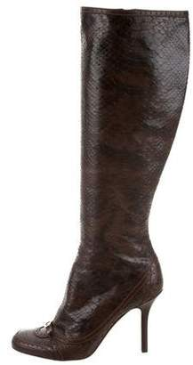 Christian Dior Embossed Knee-High Boots